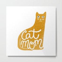 Cat Mom in Mustard Metal Print