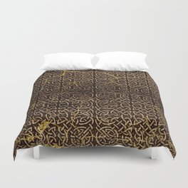Celtic Wood Pattern with Gold Accents Duvet Cover