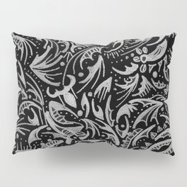 Silver Hand-Drawn Floral-Leaf Pillow Sham