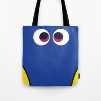 finding nemo Tote Bags featuring PIXAR CHARACTER POSTER - Dory 2 - Finding Nemo by Marco Calignano