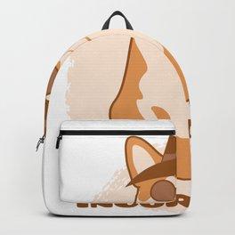 Incorgnito print Funny Vintage Corgi Lover Dog Pun Gift Backpack