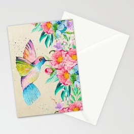 Whimsical watercolor hummingbird and  floral hand paint Stationery Cards