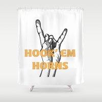 hook Shower Curtains featuring hook em horns 1 by Black Oak ATX