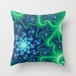 Evergreen Vortex Mandelbrot Fractal Throw Pillow