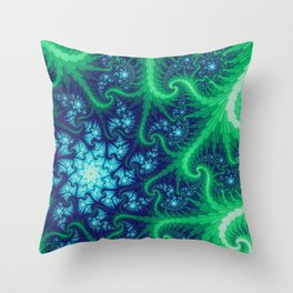 Evergreen Vortex Mandelbrot Fractal Throw Pillow