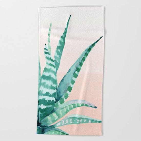 Desert Succulent Aloe Vera Beach Towel
