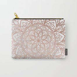 Rose Gold Nature Mandala on Marble Carry-All Pouch