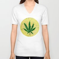 marijuana V-neck T-shirts featuring MARIJUANA by Sha Abdullah