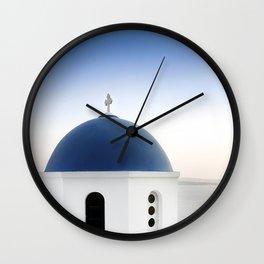 Santorini White and Blue Church View Wall Clock