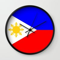 philippines Wall Clocks featuring Philippines country flag by tony tudor