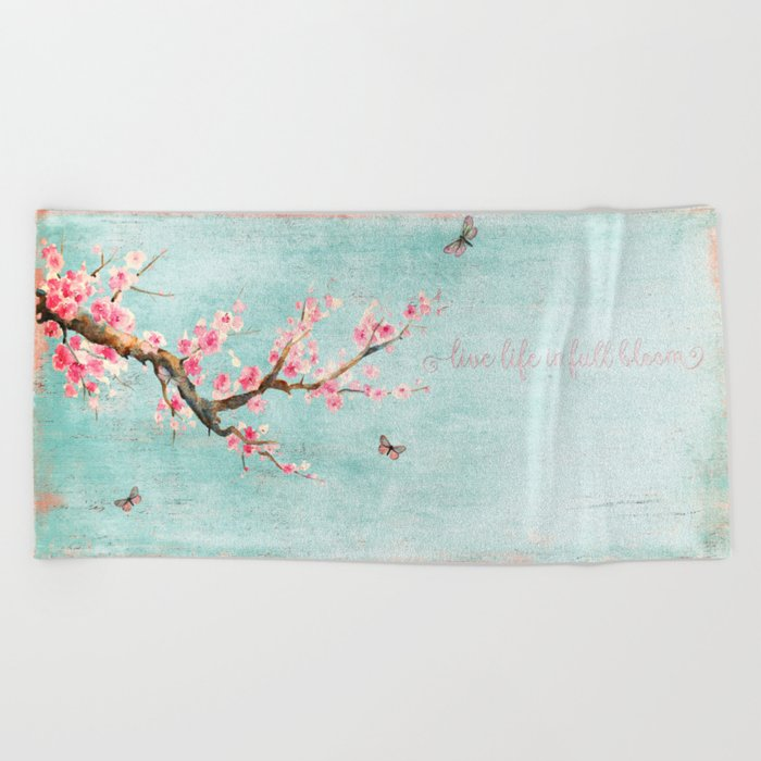 Live life in full bloom - Romantic Spring Cherry Blossom butterfly Watercolor illustration on aqua Beach Towel