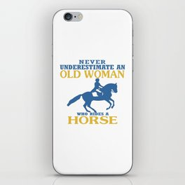 Old Woman Rides Horse iPhone Skin