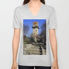 Ancient watchtower. Unisex V-Neck