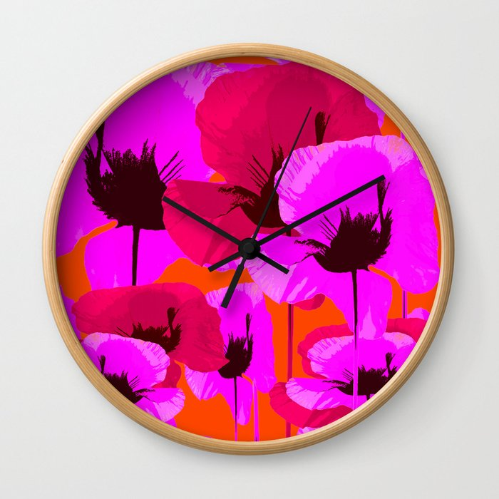 Pink And Red Poppies On A Orange Background - Summer Juicy Color Palette - Retro Mood Wall Clock