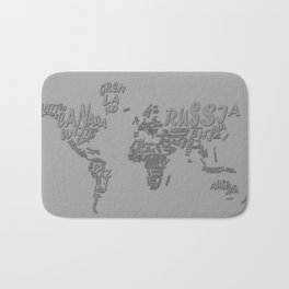 world map typography grey 1 Bath Mat