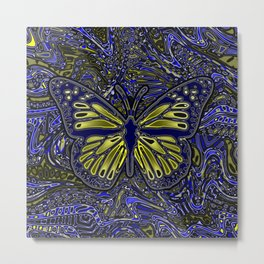 Monarch Butterfly Abstract Art Yellow Blue Metal Print