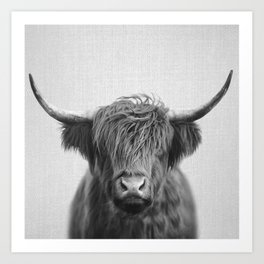 Highland Cow - Black & White Art Print