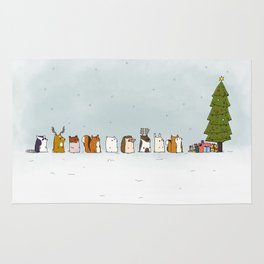 winter animals on the christmas tree Rug