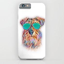 Miniature Schnauzer Colorful Neon Dog Sunglasses iPhone Case