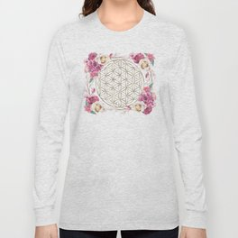 Flower of Life Rose Garden Gold Long Sleeve T-shirt