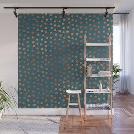 Teal & Rose Gold Dot Pattern Wall Mural