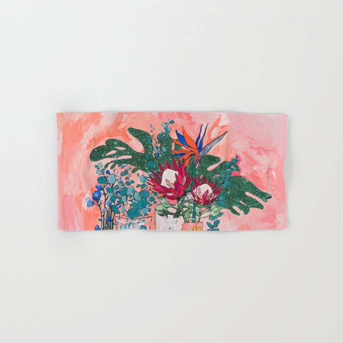 Cockatoo Vase - Bouquet of Flowers on Coral and Jungle Hand & Bath Towel