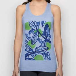 Blue and lime green abstract apple tree Unisex Tank Top