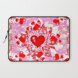 Red Hearts Valentines & Pink Art Patterns Laptop Sleeve