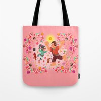 wreck it ralph Tote Bags featuring Sweet wall painting by princessbeautycase