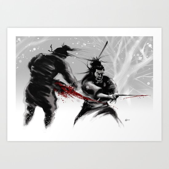 Samurai fight Art Print