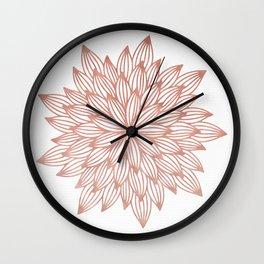 Mandala Flowery Rose Gold on White Wall Clock