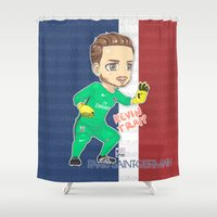 kevin russ Shower Curtains featuring Kevin the Goalkeeper by Aramis