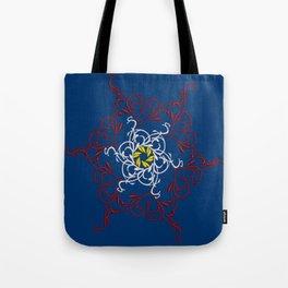 Mandala, Dark Teal, Red, White, Yellow Tote Bag