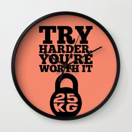 Lab No. 4 - Try Harder You Are Worth It Gym Inspirational, Motivational Quotes Poster Wall Clock