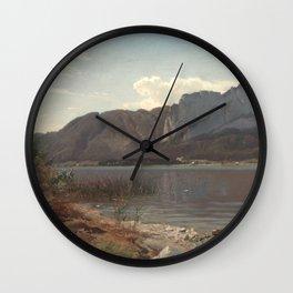 Hans Gude Painting -  Landskap Fra Drachenwand Ved Mondsee 1870    Reproduction   Norwegian Art Wall Clock