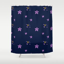 Purple plum violet stars and yellow moon by dark blue night Shower Curtain