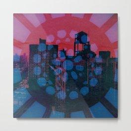 City Wheel Red/Blue Metal Print