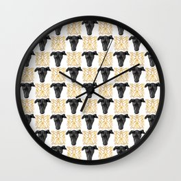 Black Greyhound Faces & Decorative Butterfly Patterns Wall Clock