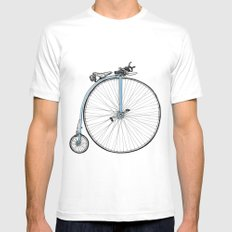 Blue Penny Farthing Mens Fitted Tee White MEDIUM