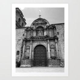 Cusco Basilica - Black & White Art Print