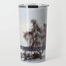 Weeping Willow on the Frozen Lake Travel Mug