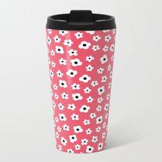 Coral White Spring Flower Pattern Metal Travel Mug