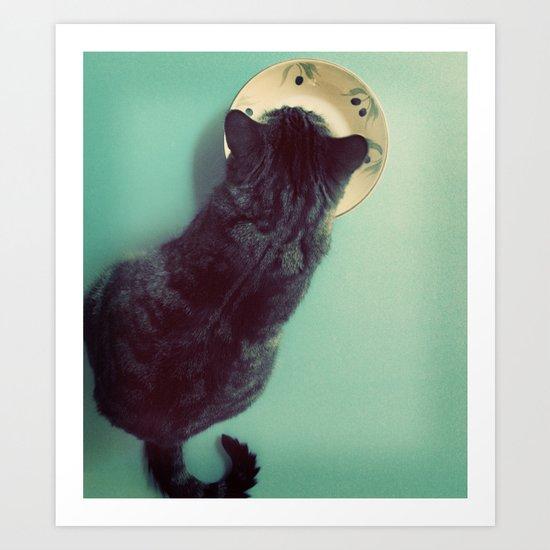 Cat and Saucer Art Print