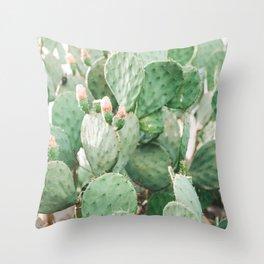 Cactus Flowers Pink And Green Desert Life Throw Pillow