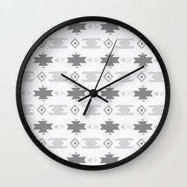 Southwestern Pattern Gray Cream Wall Clock