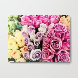 pink purple and yellow roses painting background Metal Print