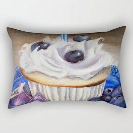 Celebration In Blue Cupcake Painting Rectangular Pillow