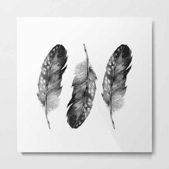 Three Feathers Black And White II Metal Print