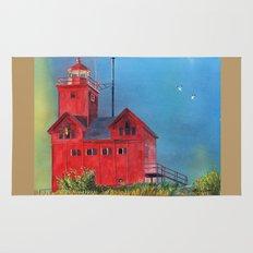 Sunset on Holland Lighthouse Rug