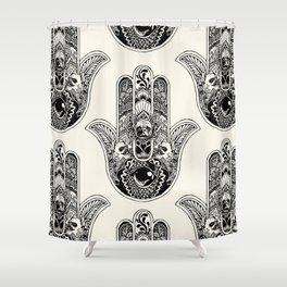 Hamsa Hand Frenchie Shower Curtain